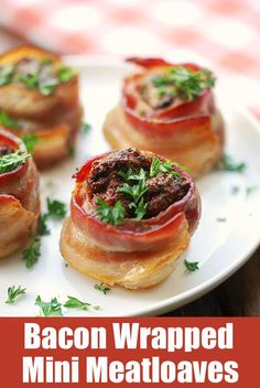 Bacon wrapped mini meatloaves are delicious, cute, portable, and can be held with your hands if you wish.  via @healthyrecipes