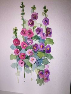 flower cards Hollyhock Watercolor Flowers Card / Hand Painted by gardenblooms Watercolor And Ink, Watercolour Painting, Watercolor Flowers, Painting & Drawing, Watercolors, Drawing Flowers, Paint Cards, Plant Drawing, Flower Cards