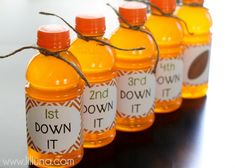 Football Party Drink Labels - DOWN it! Available for free download in ten colors!