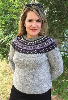 Available as free pattern in Finnish, Icelandic and English. The Lopi pattern book is available in English.