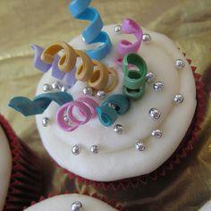 New Years Streamers Cupcake