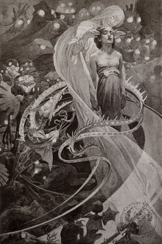 """""""Lead Us Not Into Temptation But Deliver Us From Evil"""" by Alphonse Mucha (1899, lithograph)."""