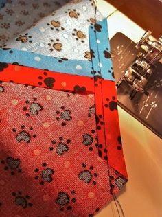 How to make a bandana. Reversible Over The Collar Dog Bandana - Step 13 Puppy Crafts, Female Dog Diapers, Diy Dog Collar, Book Pillow, Dog Items, Dog Sweaters, Dog Bandana, Dog Accessories, Bandanas