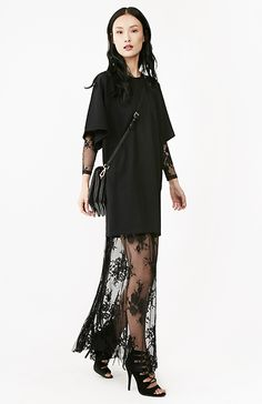 Glamorous Floral Sheer Lace Maxi Dress in Black XS - M | DAILYLOOK