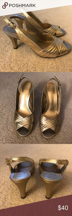 Gold Sling Back Alex Marie Open Toe Heels Size 8.5, leather heels, bottom worn but top in great condition. Alex Marie Shoes Heels