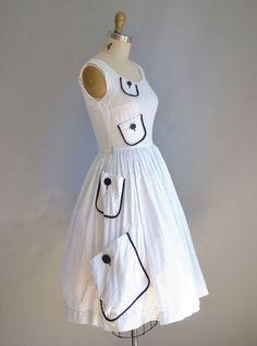 1950s Dress / 50s Polka Dot Dress / Minx Mode. Sold.