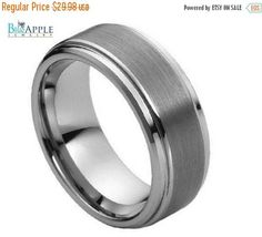 Tungsten His Hers Ring Wedding Band 8MM Ridged Beveled Edges Brushed And Polished Comfort Fit Unisex Ring