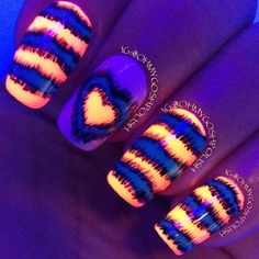 Glow in the dark nails. Cool design.