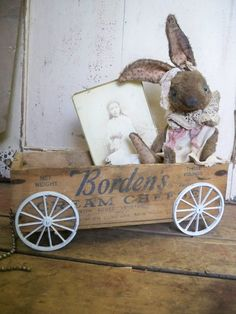 Handmade - Vintage Cheese Box ToY WAGON - by Whendi's Bears - wood wooden Bordens Cream Cheese. $29.00, via Etsy.