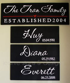 Etsy Family Member Birthdate Sign