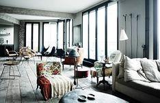 design traveller: Parisian loft designed by Antonio Virga Loft Spaces, Living Spaces, Living Room, Loft Design, House Design, Design Web, Paris Loft, Turbulence Deco, Parisian Apartment