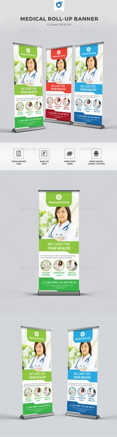 Medical Roll-up Banner Template #design Download: http://graphicriver.net/item/medical-rollup-banner/11275867?ref=ksioks