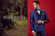 Advertising campaign 2017 - Ottavio Nuccio Gala  Luxury double breasted tuxedo in royal blue shantung silk: perfect for weddings, evening parties or gala events.!