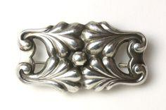 Georg Jensen Sterling Silver Floral Arts and Crafts Design Brooch