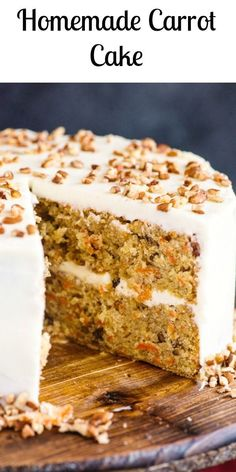 moist and delicious Homemade Carrot Cake. A simple traditional Cake, with a creamy Cream Cheese Frosting.A moist and delicious Homemade Carrot Cake. A simple traditional Cake, with a creamy Cream Cheese Frosting. Homemade Cake Recipes, Baking Recipes, Carrot Cake Recipes, Homemade Frosting, Cake Boss Carrot Cake Recipe, Carrot Cake Recipe For Diabetics, Carrot Cake Recipe Nigella, Pioneer Woman Carrot Cake Recipe, Classic Carrot Cake Recipe