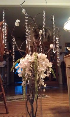 crystal trees, tall centerpieces, enchanted forest