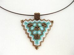 Peyote Triangle Pendant / Beaded Pendant Brown Turquoise and