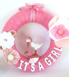Its a Girl Yarn Wreath 10inch by WoolyCatWorld on Etsy