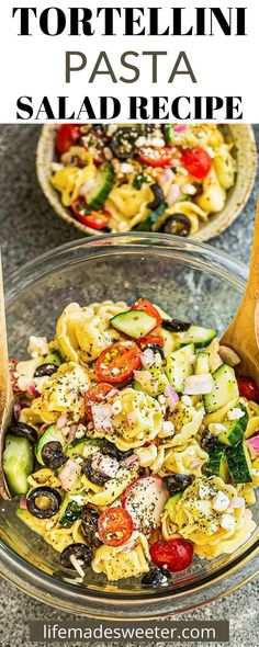 Tortellini Pasta Salad is a summertime staple! It's fast to make and tastes terrific. Tomato Pasta Bake, Pasta Salad With Tortellini, One Pot Pasta, One Pot Dinners, Pasta Dinners, Best Pasta Dishes, Baked Ziti, Beef And Noodles, Spinach Stuffed Mushrooms