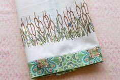 Cattails Hand Embroidered Kitchen Towel Finished Needlework | countrygarden - Needlecraft on ArtFire