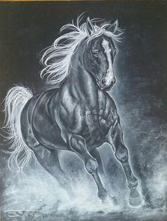 Dessin que j'ai réalisé avec un crayon blanc Stabilo Carbothello et pastelle blanc Different Media, My Drawings, Lion Sculpture, Horses, Statue, Animals, Art, White Pencil, Dibujo