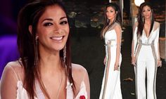 Nicole Scherzinger looks sensational in a plunging white jumpsuit