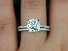 Rosados Box Marcelle White Gold Cushion FB Moissanite and Diamond Cathedral Wedding Set