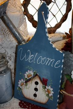 Welcome Plaque With Bird House by TracysCrtns on Etsy