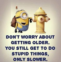 Don't worry about getting older.  You still get to do stupid things.  Only slower. - minion