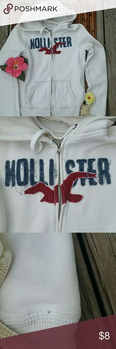 Zip up hoodie Off white,says large but its more of a medium,has small ink dot on cuff 3rd pic Hollister Tops Sweatshirts & Hoodies