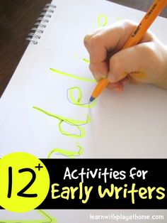 Activities for early writers. Learn with Play at Home: Learn to Write. Activities for early writers.Learn with Play at Home: Learn to Write. Activities for early writers. Preschool Literacy, Preschool At Home, Kindergarten Writing, Teaching Writing, Literacy Activities, Name Writing Activities, Writing Activities For Preschoolers, Preschool Journals, Early Learning Activities
