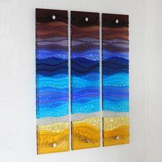 beach triptych fused glass wall art by jo downs