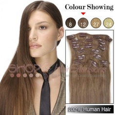 20 Inches 8pcs Clip-in Human Hair Extensions Straight (#12 Light Blonde)