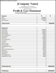 Profit and Loss Statement Template | Free Profit And Loss ...
