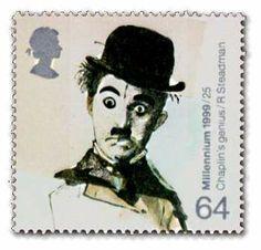 """Charlie Chaplin auf britischer Briefmarke der Serie """"Unterhaltungswesen"""""""