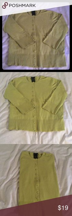 Lime Green Buttoned Down Sweater Lime Green Covered Buttoned Cardigan! Mid Length Sleeves With Covered Buttons!  54% Cotton. 26% Rayon, 20% Nylon, Wear it Now or Wear it Later And You Will Look Marvelous! Grace Elements Sweaters Cardigans