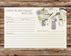 Custom Printable Rustic Vintage Mason Jars Bridal Shower Recipe Card. $6.50, via Etsy.