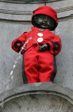 April 21, 2008 shows Brussels' famous Manneken Pis.