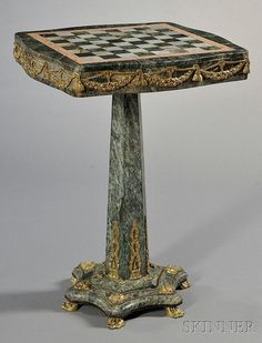 Ormolu-mounted Marble Specimen Table, 20th century, with chessboard-top and pedestal-base, ht. 32, wd. 23 in.