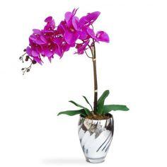 Arranjo de Flores Artificiais Orquideas Vaso Espelhado 45x15 cm