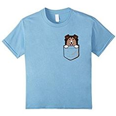 Sheltie T Shirt Kids Adorable Little Sheltie In The Pocket T-shirt 4 Baby Blue