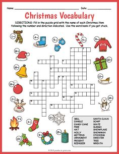 Free Printable Christmas Vocabulary Image Crossword