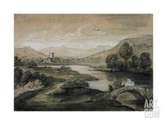 Upland Landscape with River and Horsemen Crossing a Bridge Giclee Print by Thomas Gainsborough at Art.com