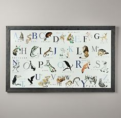 Vintage French Alphabet Book Art safari nursery