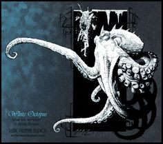 White Octopus: Blue Ink Version: traditional ink line art:  Creature Concept Design:  copyright Andy Brase: https://www.facebook.com/AndyBraseArt