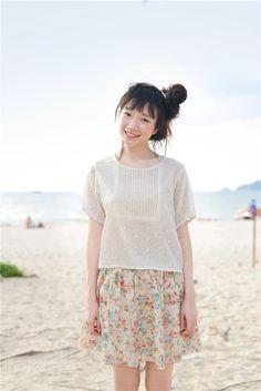 DEAR Li Sen female sweet wind original loose cotton striped short-sleeved T-shirt Dandelion floral blouse summer - Taobao