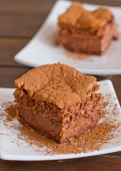 Chocolate Magic Cake - the popular magic cake or intelligent cake in chocolate flavor, one batter gives you this divine 3 layer cake.