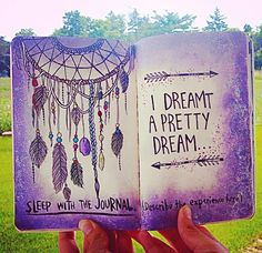 Wreck this journal, sleep with the journal describe the experience, dream catcher, cute. Wreck This Journal, Dream Journal, Art Journal Pages, Art Journals, Journal Ideas, Journal Design, Kunstjournal Inspiration, Bullet Journal Inspiration, Moleskine