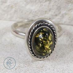 Sterling Silver Bali Braided Green Amber 5 5g Ring 6 SP3882 | eBay