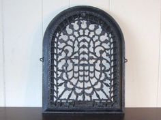Vintage Ornate Fireplace Gate, Grill Black Cast Iron, Fireplace Summer Cover .